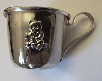 Silver Plate Baby Cup - Teddy Bear