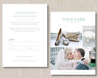 Photographer Gift Certificate Template - Photographer Gift Card Design - Voucher Flyer Template