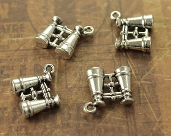 10 Telescope Charms Telescope Pendants Antiqued Silver Double Sided - 3D 12 x 15 mm