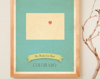 BUY 2 GET 1 FREE  Colorado Roots Map 11x14 Customized Print