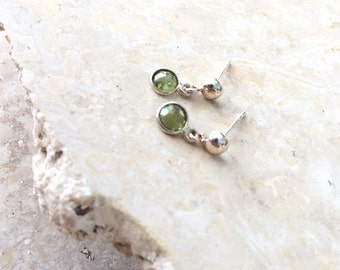 Good Fortune (PERIDOT) - sterling silver earrings with dainty gemstone drops