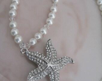 Bride - Bridesmaids - Starfish Rhinestone Pearl Necklace Bridal Jewelry Bridal Accessories Wedding Jewelry