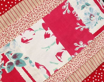 Red Table Runner Vintage Tablecloth Hand Made Patchwork Quilt Polka Dots Rick Rack Vintage Buttons Primitive Cottage Style