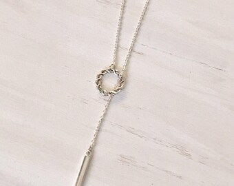 Silver Hygea , Silver Drop Bar Slip on Lariat, Y Necklace, Silver Jewelry, Simple Necklace, gift for her