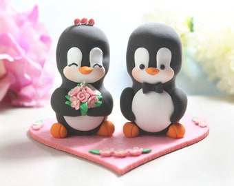 Wedding cake topper figurines - Penguins + felt base/stand - pink bride groom cake toppers wedding blue elegant personalized decorations