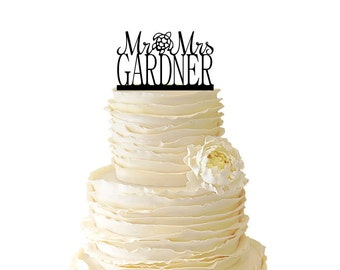 Mr. And Mrs. With Sea Turtle And Personalized With Your Name Acrylic or Baltic Birch Wedding/Special Event Cake Topper - 024