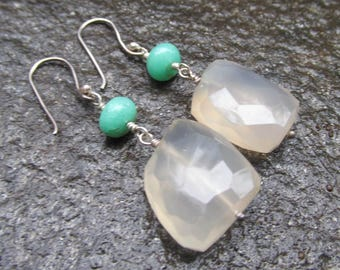 Chrysoprase & Faceted Prehnite Earrings w/ STERLING SILVER Handmade with Natural Gemstone Beads