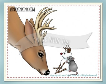 Digital Stamp - Just for You - Buck deer and mouse with snowman friend
