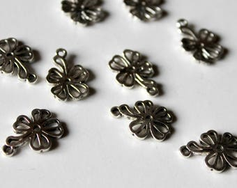 x 1 flower Nature spring - silver - custom jewelry - charm