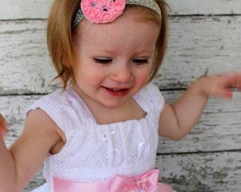 Pink Easter Bunny Headband, Pink and Silver Easter Headband, Easter Bunny Headband, Photo Prop, Infant Headband, Girl's Headband