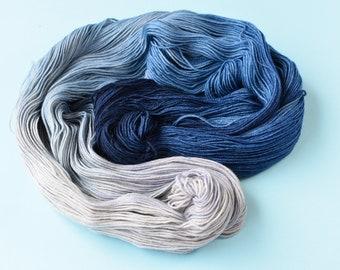 Yarn sock weight Hand dyed 100% Superwash Merino-blue wash