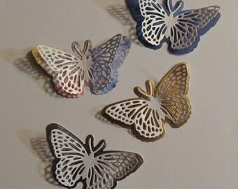 10 Butterfly Die Cuts, Ornate Delicate Paper Die Cut, Choose Your Color