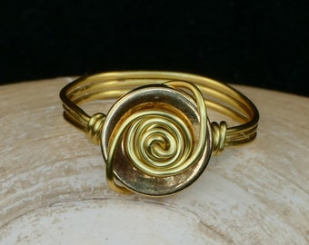 Gold button wire ring