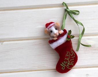 christmas realistic needle felt mouse in christmas stocking, christmas decoration, felted mouse, Needle Felted Animal, stocking, winter toy