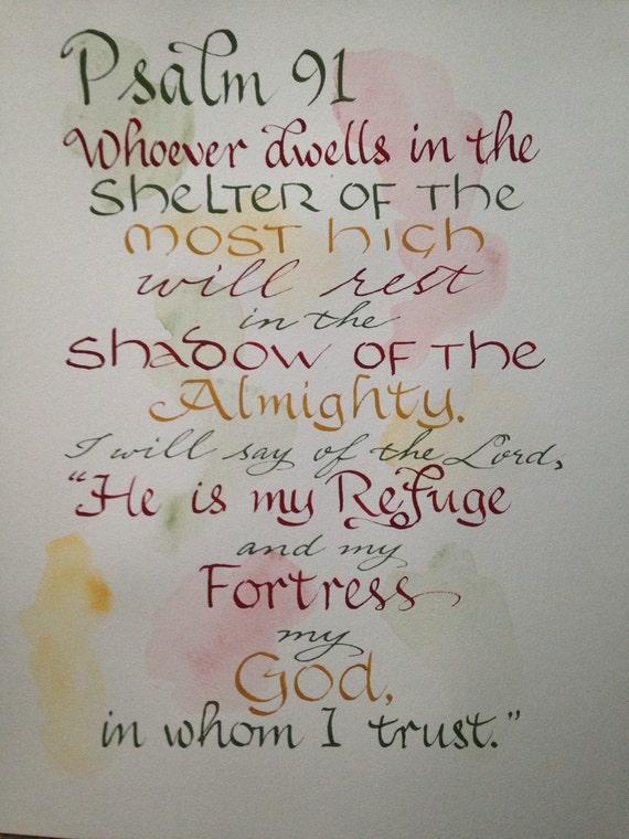 Psalm 91 Scripture Art Bible Verse Wall Art Hand Written