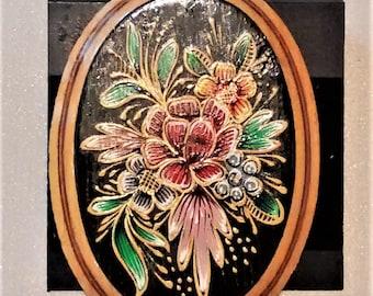 MM-102, Painted Wood Flower Focal