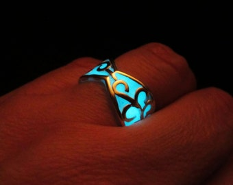 Blue glow ring //glow in the dark// sterling silver