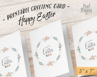 Shabby Chic Easter cards, Printable Easter Card, Printable Happy Easter, Greeting Cards, Printable 5x7 card Easter Card Digital Download Mum