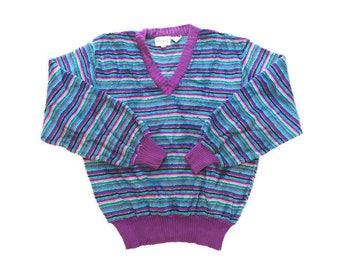 Vintage Rainbow Striped Pullover V neck Sweater