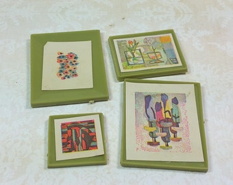 "MARX ARTWORK, Set of 4,  1/2"" Scale, 1960's, Imagination House, Vintage  Dollhouse Pictures, Accessories"