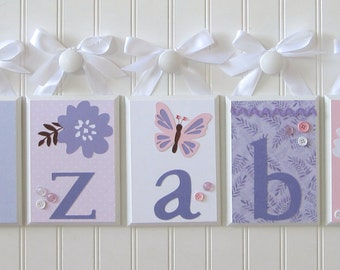 Name Blocks . Nursery Decor . Baby Name Blocks . Hanging Wood Name Blocks . Pink Lavender . Flowers Butterflies . Elizabeth