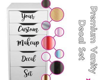 PREMIUM VANITY SET: Custom Makeup Vanity Stickers Decals Makeup Organization Set of twelve (12) decals