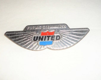 United Airlines Jr. Stewardess Pin Vintage Badge Collectible