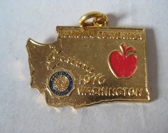 American Legion Gold Charm National Convention Washington 1976 Apple Vintage