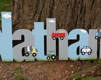 Garçons sur mesure transport nom signe - pépinière mur lettres nom signe - murale en bois lettres garçon Style véhicules