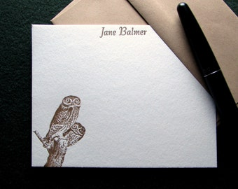 Custom Letterpress Stationery - 15 Personalized Notecards - Back to Nature Series - Owls