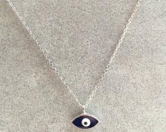 Dark blue mini evil eye silver 925 Turkish good luck  necklace pendant