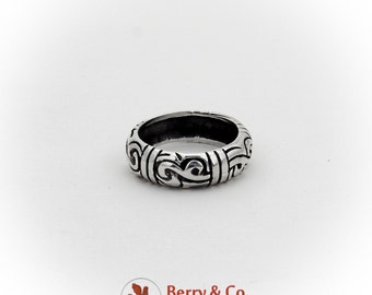 Vintage Relief Scroll Band Ring Sterling Silver