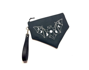 Black Bat Wristlet, Moon Phase Wristlet, Canvas Wristlet, Bat Bag