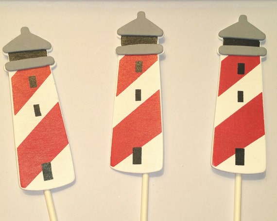 Nautical Lighthouse Layered Wood Toppers For Decorations Cakes Cupcakes  Centerpiece Diaper Birthday Party Favor Baby Shower Decor Wedding