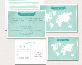 Destination wedding bilingual wedding invitation invitation Two Countries, One Love Bilingual World Map  French-English DEPOSIT Payment