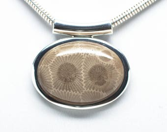 Fancy Petoskey Stone Silver Oval Necklace - Chain Included
