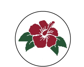 Counted Cross Stitch Pattern - Hibiscus Flower  - CrossStitch PDF Instant Download