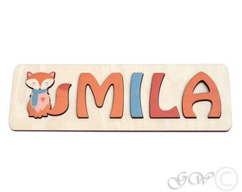 Personalized Name with Fox, Puzzle Name, Personaziled Toy, Personalized Baby Name, wooden custom name puzzle