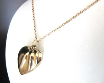"""Deco Style Necklace Puffy Heart Gold Plated Pendant 18"""" Inches"""