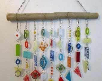 """In Bloom: Glass Mobile / Wind Chime featuring Stained Glass and Fused Glass (approx 17"""" wide x 15"""" long)"""