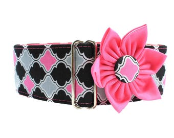 Hot Pink Martingale Collar Matching Flower, Greyhound Martingale Collar, Hot Pink Dog Collar, Whippet Collar, Side Release Dog Collar