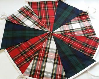 Mixed  Tartan  Fabric Garland Bunting 8ft 2.5m Vintage style Christmas Burns night,Hogmanay