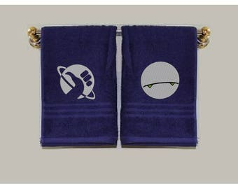 Hitchhiker's Guide to the Galaxy hand towel, Don't Panic, Thumb, 42, Planet, and Marvin Hand Towels, Custom Embroidered Hand Towels