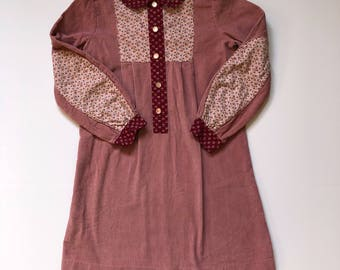 1970's Calico & Corduroy Shift Dress (10)