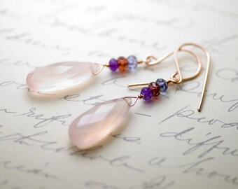 "Rose Chalcedony, Amethyst, Garnet, Mystic Blue Quartz Rose Gold Earrings - ""Cherry Blossom"""