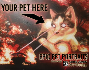 Custom one of a kind epic acrylic Painting of your Pet!