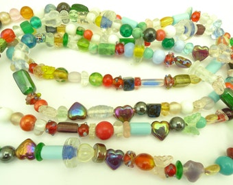 2 mixed strands Czech Indian glass beads component tribal African trade AB-0028