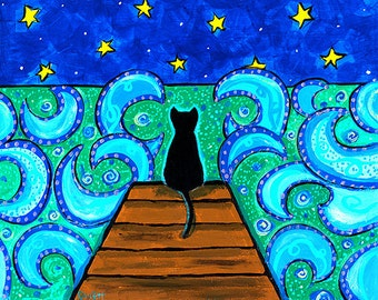 Black cat ocean night blue PRINT Shelagh Duffett