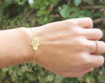 Hamsa Hand Bracelet, 14k gold filled Sideways Hamsa Bracelet, charm bracelet - Good Luck, Faith Jewelry, Gift, Bridesmaid Gifts