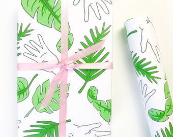 Wrapping Paper, PALM PRINT Gift Wrap, Palm Tree Print, Wrapping Paper, Palm Frawns Print, Banana Leaves Print, Gift Wrap Sheets,